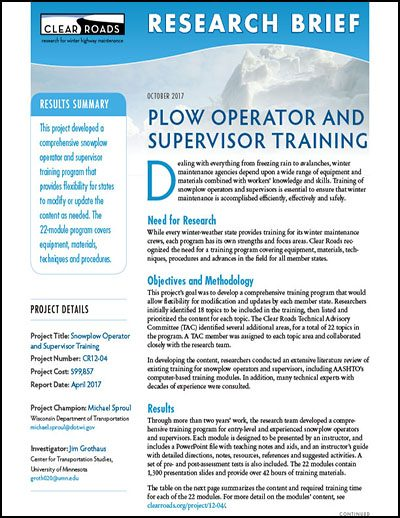 Operator and Supervisor Training