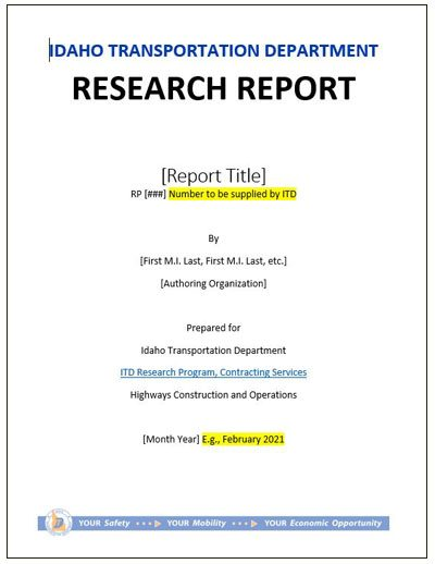 Idaho Research Template