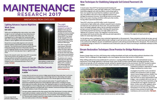 Maintenance Research 2017: Innovations from State DOTs