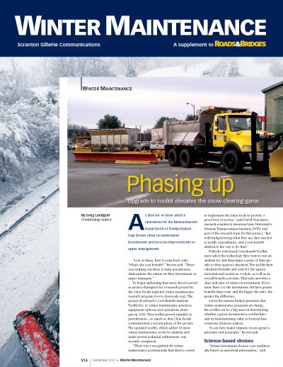 Feature article on Clear Roads Cost-Benefit Toolkit