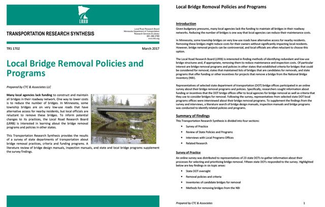 Local Bridge Removal Policies and Programs
