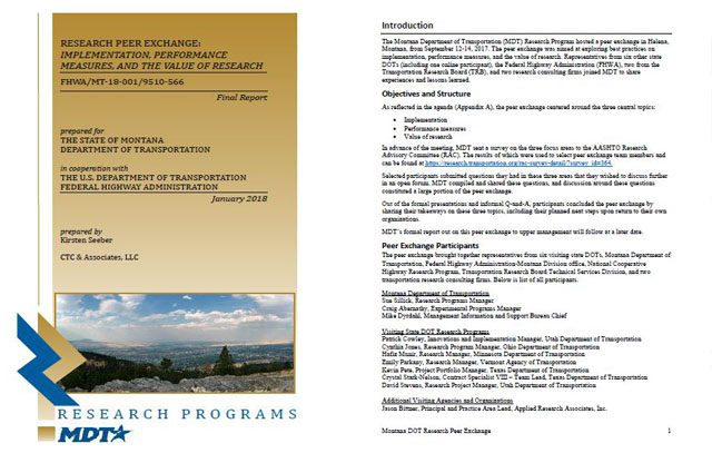 Montana DOT 2017 Peer Exchange - CTC & Associates