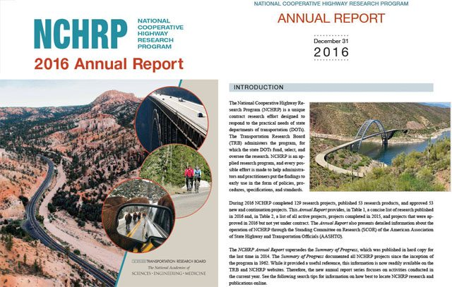 NCHRP 2016 Annual Report