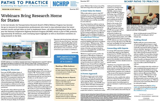 NCHRP Path to Practice Webinars
