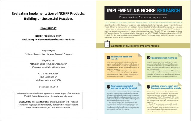 Evaluation of NCHRP research implementation