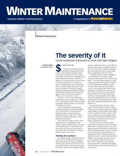 Feature article on Clear Roads Winter Severity Map