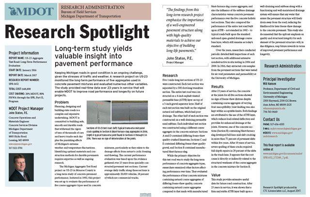 MDOT Research Spotlight: Aggregate Test Study - CTC & Associates