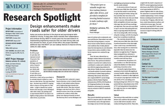 MDOT Research Spotlight: Safer Roads for Older Drivers - CTC
