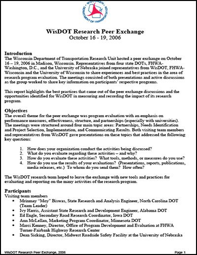 WisDOT Research Peer Exchange Final Report